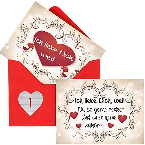 Sinoest Adventskalender zum Befüllen mit 24 Karten Ich Liebe...