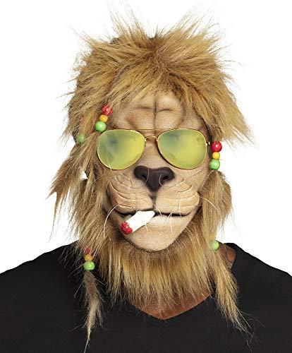 shoperama Maske Kiffender Rasta Löwe mit Haaren und Brille...