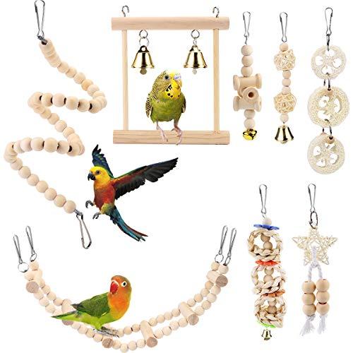 BYZESTY Vogelspielzeug, 8er Set Vögel Holzleiter Spielzeug mit...