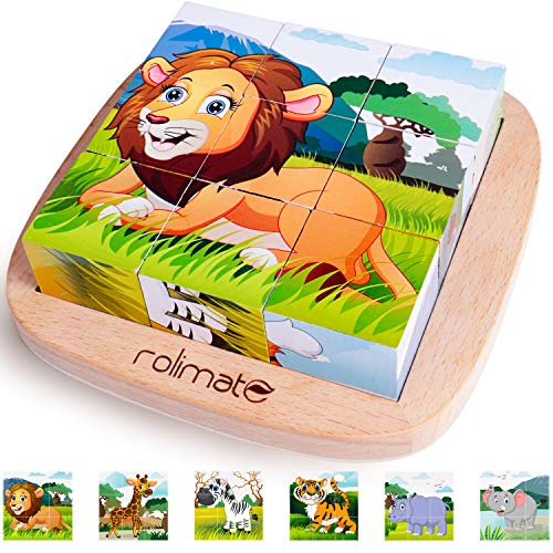 Rolimate Bilderwürfel Holz, Holzpuzzle 3D Würfelpuzzle...