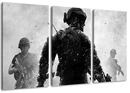 Call of Duty 3-Teilig auf Leinwand, XXL riesige Bilder fertig...