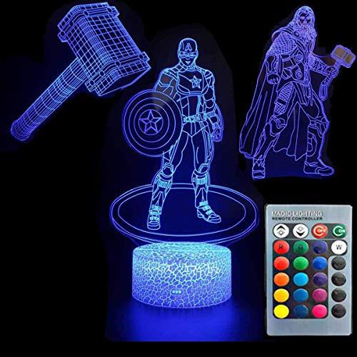 3D Illusion Avengers Superheld Nachtlicht Drei Muster Captain...