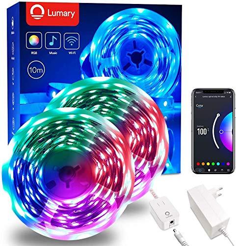 LED Strip 10m RGB Streifen - Lumary LED Streifen Smart WiFi 5050...