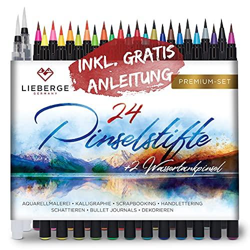 LIEBERGE Pinselstifte Premium-Set - 24 Aquarellfarben + 2...