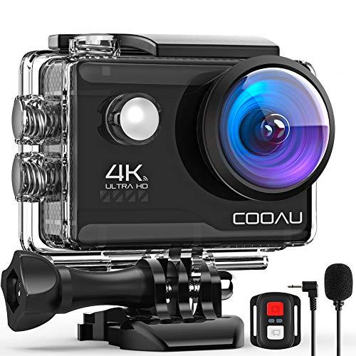 COOAU Action Cam HD 4K 20MP WiFi mit externem Mikrofon...