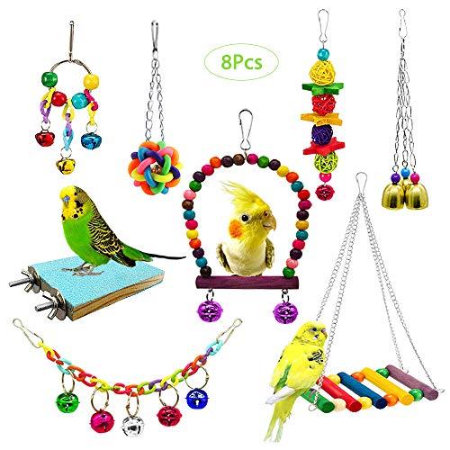 8 Stücke Bunten Vogelspielzeug, AUHOTA Vögel Papagei Spielzeug...