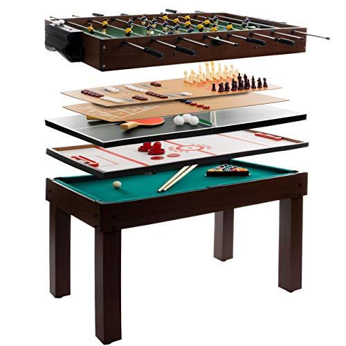 Anaterra Multigame Spieletisch 9 in 1, Kickertisch Tischfußball, Billardtisch, Tischtennis,...
