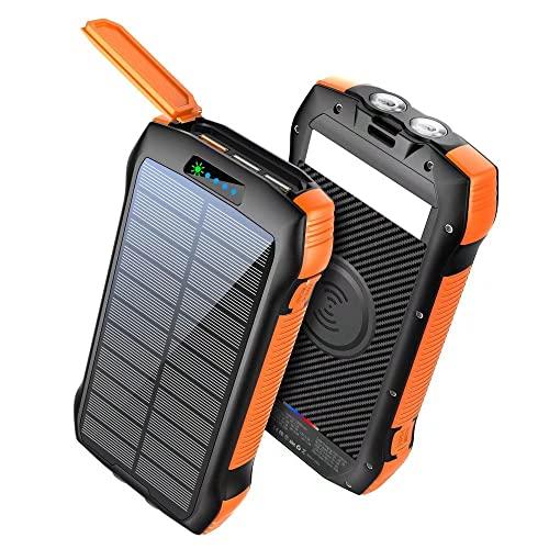 ZJYWAN 33600mAh Qi Wireless Solar Powerbank, Solarladegerät Qi...