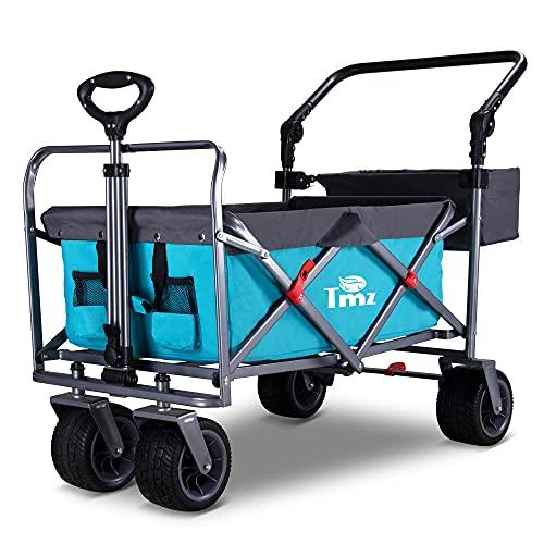 TMZ Faltbarer Bollerwagen All-Terrain Gartenwagen mit Fußbremse,...