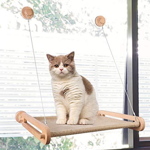 CATISM Hölzern Fenster Katzenhängematte für Katzen bis 15 kg...
