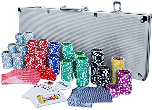 Eaxus® Deluxe Pokerkoffer - ♣️ Hochwertiges Profi Pokerset...