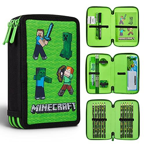 Minecraft Federmäppchen Junge Gefüllt, Federtasche Junge...