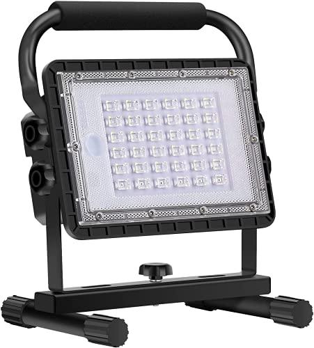 Baustrahler LED Akku, 60W LED Arbeitsleuchte Akku Strahler...