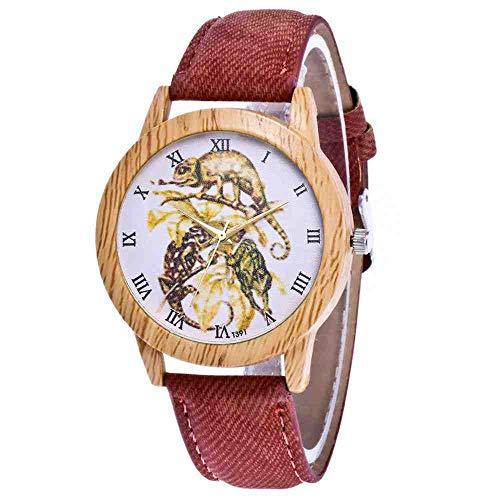 OLUYNG Armbanduhr Retro Holzmaserung Armbanduhr Damen Herren Uhr...