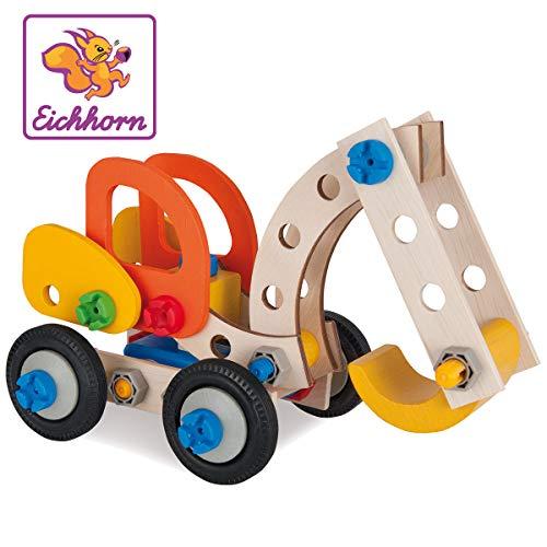 Eichhorn 100039087 - Bagger 90-teilig Holz-Konstruktions-Set, 3 verschiedene...