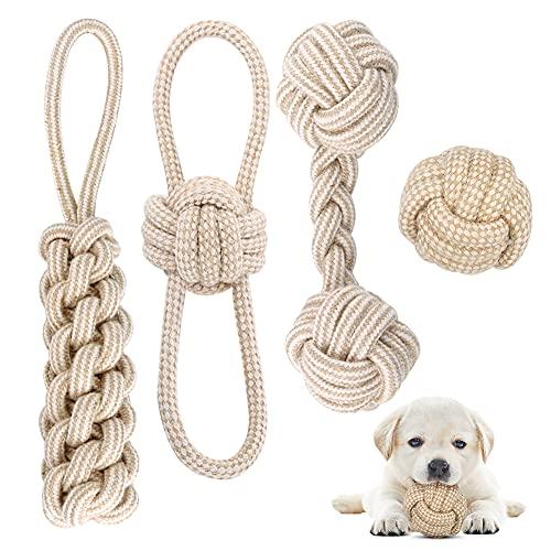 Hundespielzeug Seil mit Knoten Ball, 4 Stück Kauen...