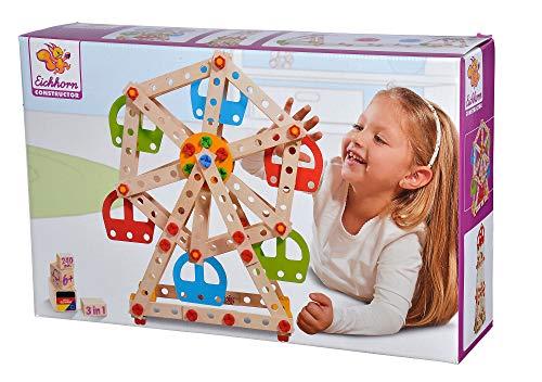 Eichhorn 100039099 Constructor Riesenrad - vielseitiges Holzspielzeug, 240 Bauteile,...