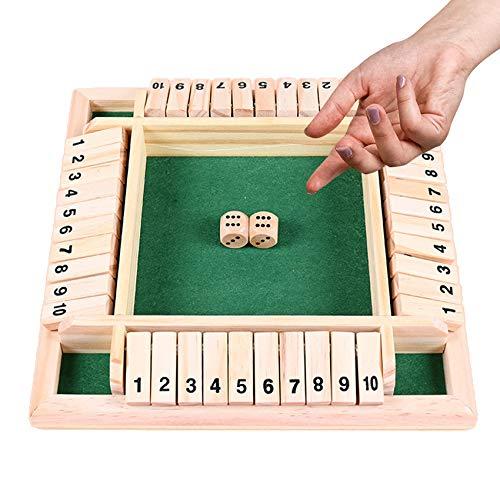 Holz Brettspiel,Klassisch Würfelspiel Board Spielzeug,Shut The...