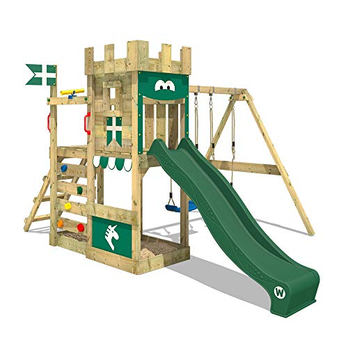 WICKEY Spielturm Ritterburg RoyalFlyer mit Schaukel & grüner...