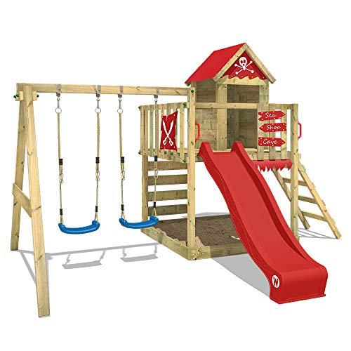 WICKEY Spielturm Klettergerüst Smart Cave mit Schaukel & roter...