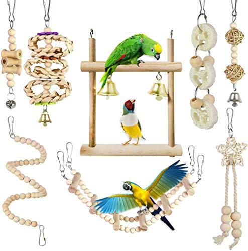 CAMITER Vogelspielzeug für Papageien, Naturholz, zum Aufhängen,...