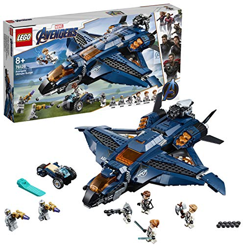 LEGO 76126 Super Heroes Marvel Ultimativer Avengers-Quinjet, Superhelden Spielset inkl....