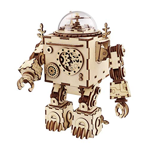 Robotime Roboter Spieluhr Holz 3D Puzzle Modell bausatz...
