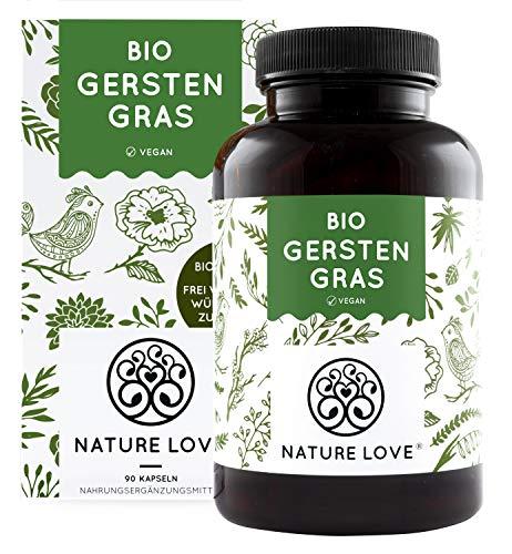 NATURE LOVE® Bio Gerstengras - Hochdosiert mit 1500mg je...