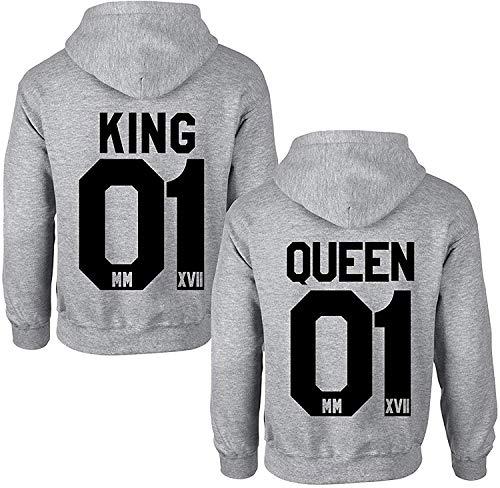Couples Shop King Queen Hoodie Pullover Set für Paare (Herren...