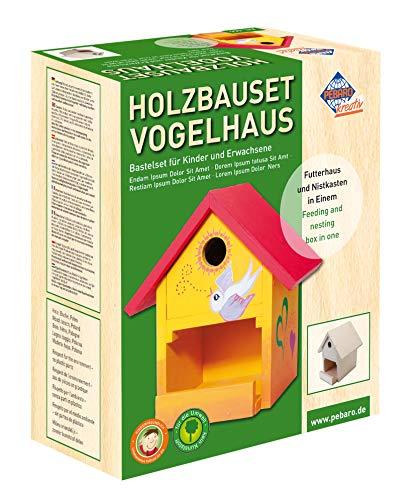 Pebaro Siva _466 466 Holzbauset Vogelhaus mit 9 unbehandelten Birkenholzplatten,...