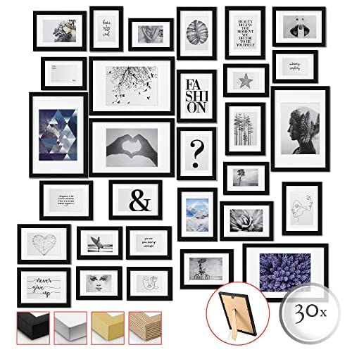 bomoe 30er Set Bilderrahmen Emotion - Collage Fotorahmen Holz &...