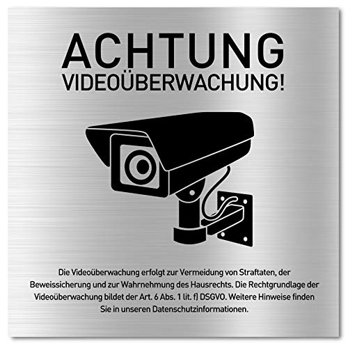Schild Videoüberwachung (15 x 15 cm klein) inkl. DSGVO Hinweis -...