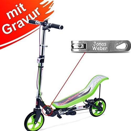 Space Scooter X 590 Premium grün MIT Gravur - für Kinder und...