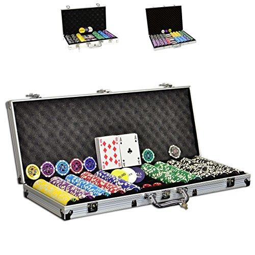 SONLEX Pokerkoffer mit 300 500 1000 Laser Pokerchips 12 g...