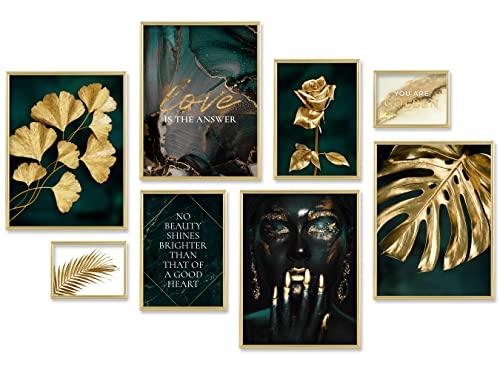 ARTFAVES® Poster Set - GOLDEN Leaves | Wanddeko Wohnzimmer &...