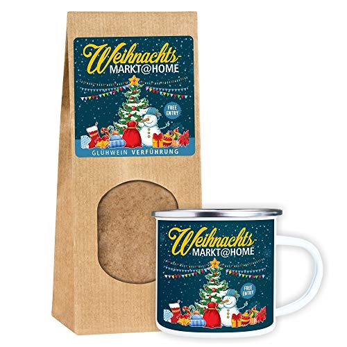 SET Metalltasse Emaille Look 'Weihnachtsmarkt@Home' +...