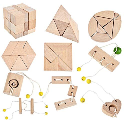 B&Julian ® 3D IQ Holzpuzzle10 Mini Knobelspiele Holz Puzzle Set...