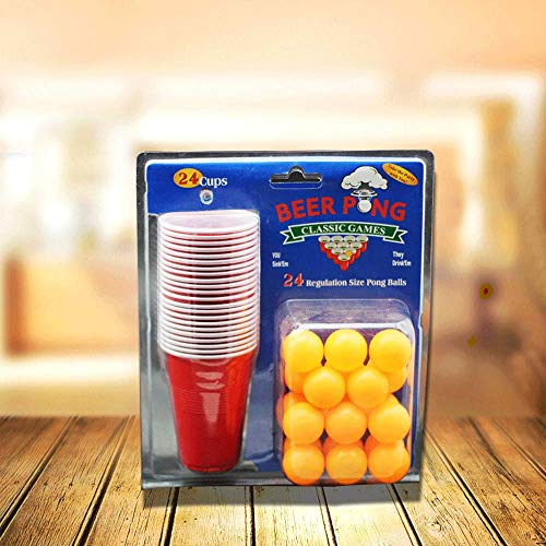 WINIAER Beer Pong Set – 48 rote Becher und 24 Ping Pong Bälle...