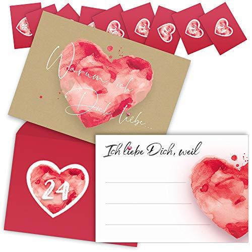 beriluDesign® Adventskalender mit 24 Karten - Ich Liebe Dich,...