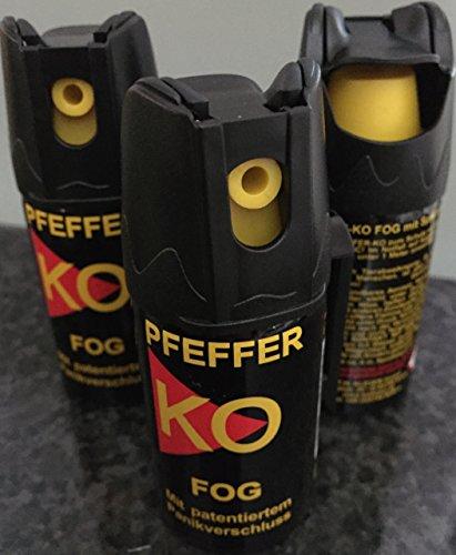 3 Dosen KO Fog Pfefferspray mit Sprühnebel 40ml - Abwehrspray...