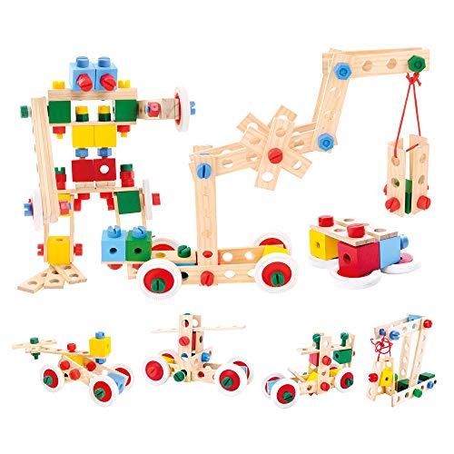 Bino Holz-Baukasten im Eimer, Spielzeug für Kinder ab 3 Jahre,...
