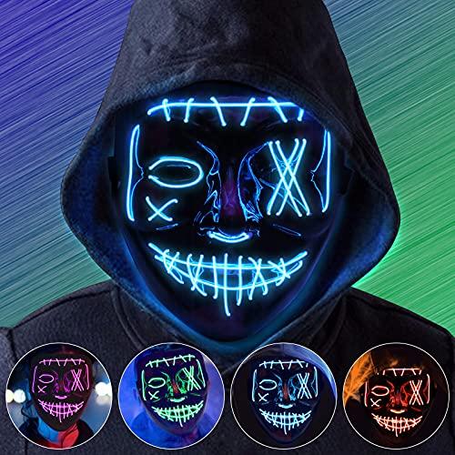 Molbory Halloween Maske, LED Purge Maske im Dunkeln Leuchtend,...