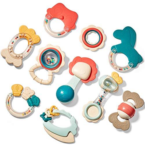 CubicFun Rassel Beißring Set Baby Spielzeug ab 0 3 6 9 Monate 10...