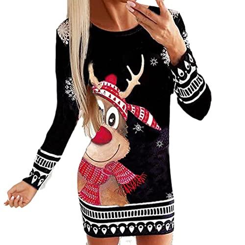 Damen Weihnachtspullover Kleid Midikleid Langarm Slim Fit...