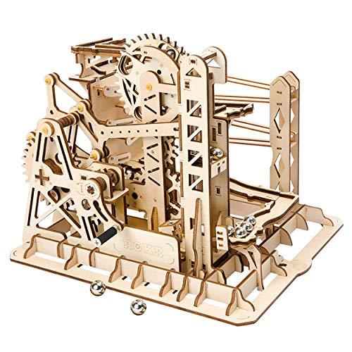 Robotime Marmor-Achterbahn mit Uhrwerk, mechanisches 3D-Puzzle-Spiel, Holzbastel-Set,...