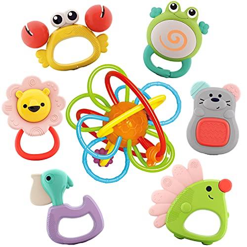 Nene Toys 7-teiliges Set Baby-Beißspielzeug Tiere entdecken mit...