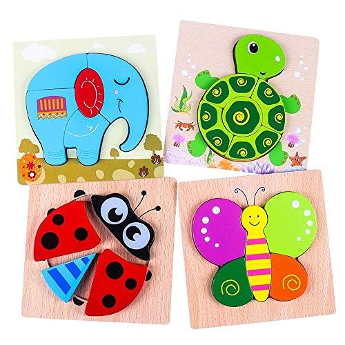 Holzpuzzle 3D Kinder 4 Stücke, Tier Steckpuzzle Holz Spielzeug...
