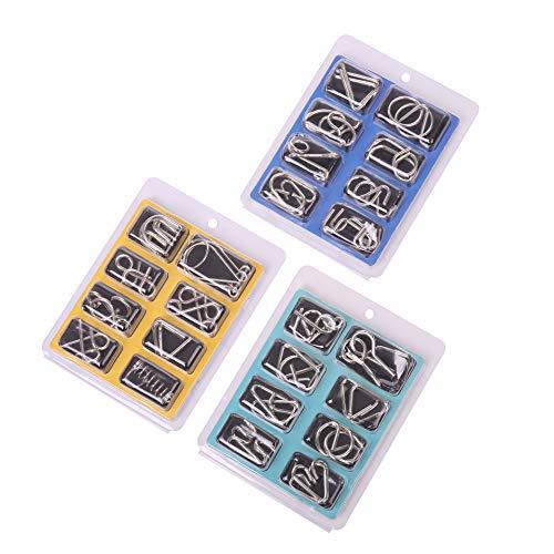 wohnen-freizeit 24tlg. Knobelspiele Set, Metall Knobelspiele IQ...