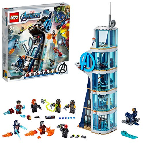 LEGO 76166 Marvel Avengers – Kräftemessen am Turm, Bauset mit Iron Man, Black Widow & Red...