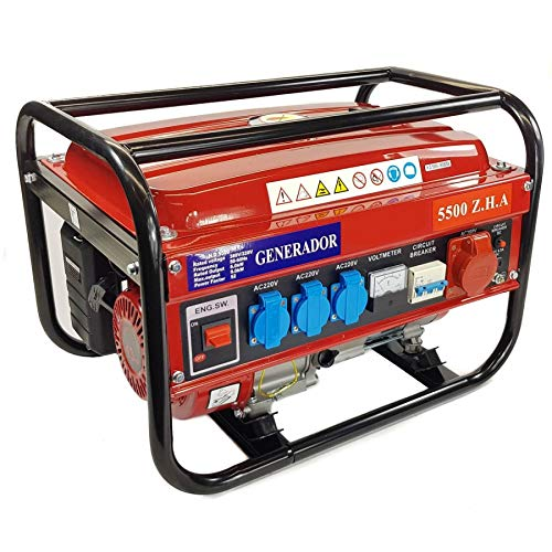 Elektrischer Generator, Benzin, mit Rollen 15 L 5500W (1000W...